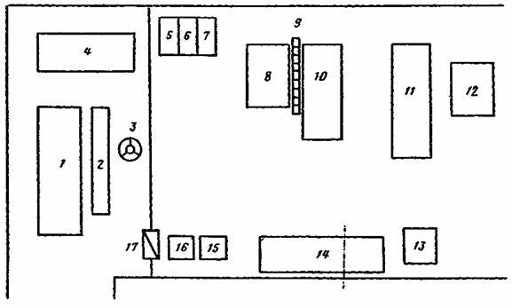 12 - подвесной конвейер;
